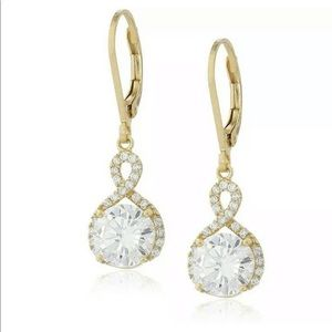 White CZ Lever Back Earrings